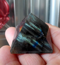 Natural labradorite Quartz Crystal Pyramid Healing