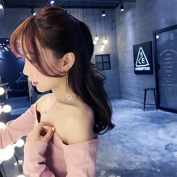 2019 Fashion Brincos Oorbellen Bijoux Asymmetry Circles Gray Simulated Pearl Petal Long Statement Drop Earrings Women Jewelry