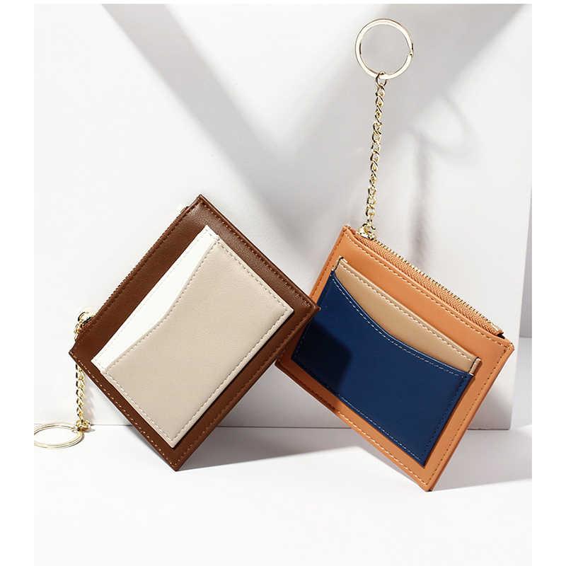 Роскошный тонкий женский маленький кошелек и бумажник для девочек, короткие кожаные держатели для кредитных карт, кошельки на молнии, женские кошельки для монет, Лоскутная сумка