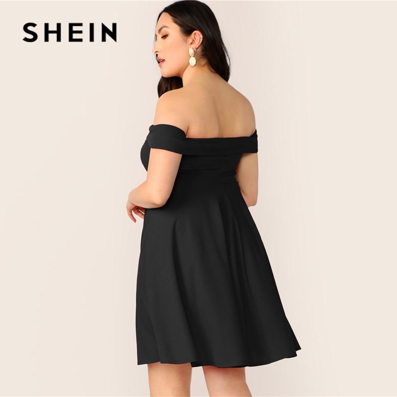 SHEIN Plus Size Off Shoulder Foldover Skater A Line Dress 2019 Women Summer Elegant Sweetheart High Waist Solid Plus Dresses 2