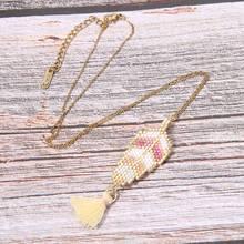 Trendy Tree Leaf Tassel Necklace Women Girl Miyuki Beads Handmade Weave Charm Stainless Steel Choker Necklaces Female Bijoux