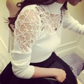 Plus Size S-XXL Sexy Tops New Fashion Women's Knitting Lace Hallow out Crochet T Shirts Long Sleeve Sexy Black White Grey Tops