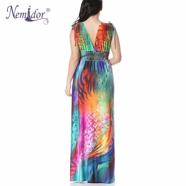 Women Sexy V-neck Beach Stretchy Print Dress Plus Size 7XL Vintage Sleeveless Patchwork Long Dress 2