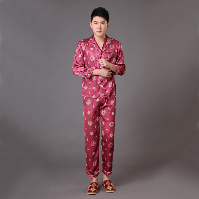 New Arrival Chinese Style Men Pajama Set Silk Satin Long Sleeve Sleepwear  Male Bathrobe Nightgown Size 930338cea