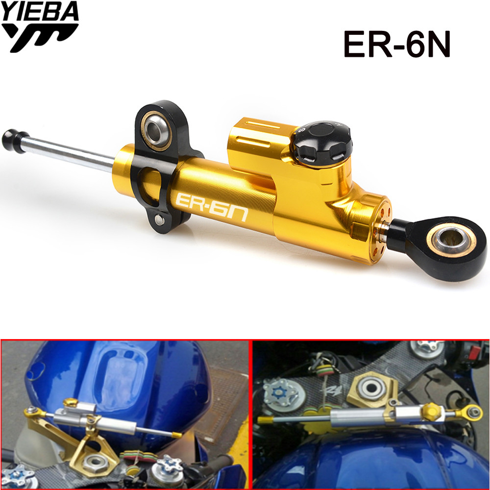 ER-6N LOGO Universal Aluminum Motorcycle Damper Steering Stabilize Safety Control FOR KAWASAKI ER6N ER 6N 2006-2018 Z800 Z900RS 2016 new cash register paper 57 50 thermal paper pos machine printing paper 58mm small ticket paper roll 24 volumes