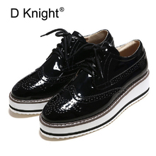 Rubber Brogue Shoes Woman Platform Oxfords British Style Casual Creepers Flat Women Shoes Patent Leather Lace Up Footwear Female недорого
