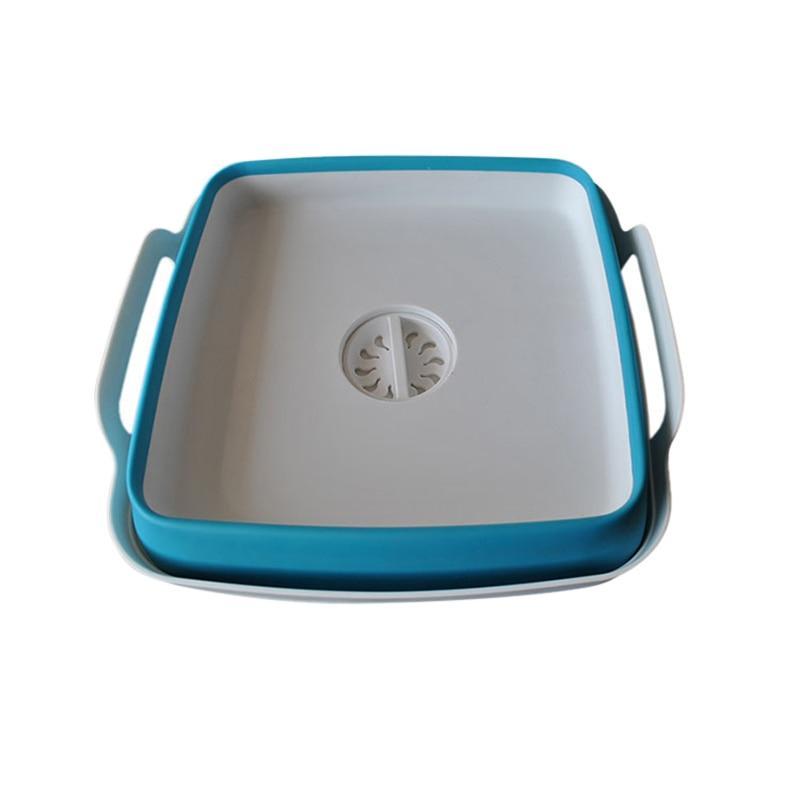 Newly Folding Square Fruit Vegetable Washing Washbasin Storage Basket Kitchen Outdoor Travel Supply TE889