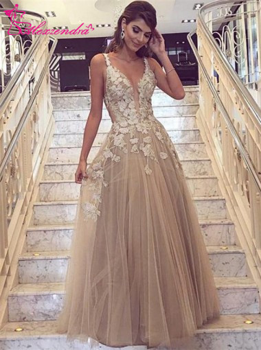 Alexzendra Dark Champagne Tulle Long   Prom     Dresses   Customize 2019 Backless Elegant Party   Dresses   Plus Size
