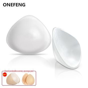 ONEFENG trójkątne silikonowe fałszywe formy piersi dla mastektomii rak piersi kobieta z tyłu głęboko wklęsłe sztuczne sztuczne cycki