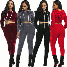 купить Velvet 2 Piece Clothing Set Women Long sleeve Crop Top And Pants Suit ladies Sexy Leisure Two Piece Bodycon Tracksuit дешево