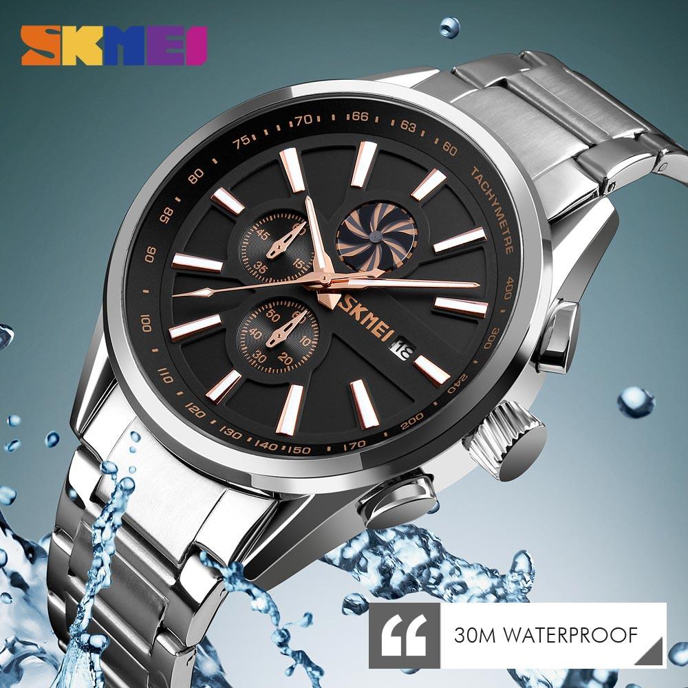 SKMEI Men's Luxury Brand Chronograph Mens Sports Watches  Waterproof Stainless Steel Quartz  Watch Relogio Masculino 2019 New