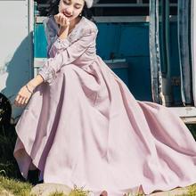 Высокое качество, осень, Новое поступление, Ретро стиль, Цветочная вышивка, бант, женское шифоновое длинное платье