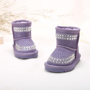 Image 5 - Toddler Baby Girls Winter Snow Boots Kids Leather Bling Bling Shoes Reihnstone Footwear Ankle Princess Botas Black Pink Purple