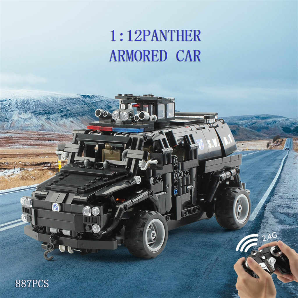 1:12 2.4G RC Brick Armored Assault Military Vehicle Armored Vehicle Minesweeper Police Explosion-proof Vehicle DIY Kit For kid