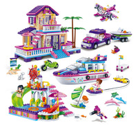 BangBao 6136 6141 Lovely Pink Princess Series Girls Toy Gift Villa Castle Bus Car Boat Model