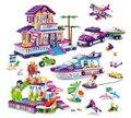 BangBao 6136-6140 Encantadora Serie de La Princesa Rosa de Juguete de Regalo Niñas Castillo Villa Bus Coche Modelo de Barco de Bloques de Construcción Ladrillos Juguetes de los niños