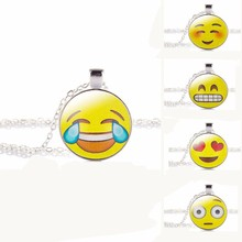 New Brand Jewelry 13 Style Silver Colour with Glass Cabochon Cute Emoji Pattern Choker Long Pendant Necklace for Women Gift