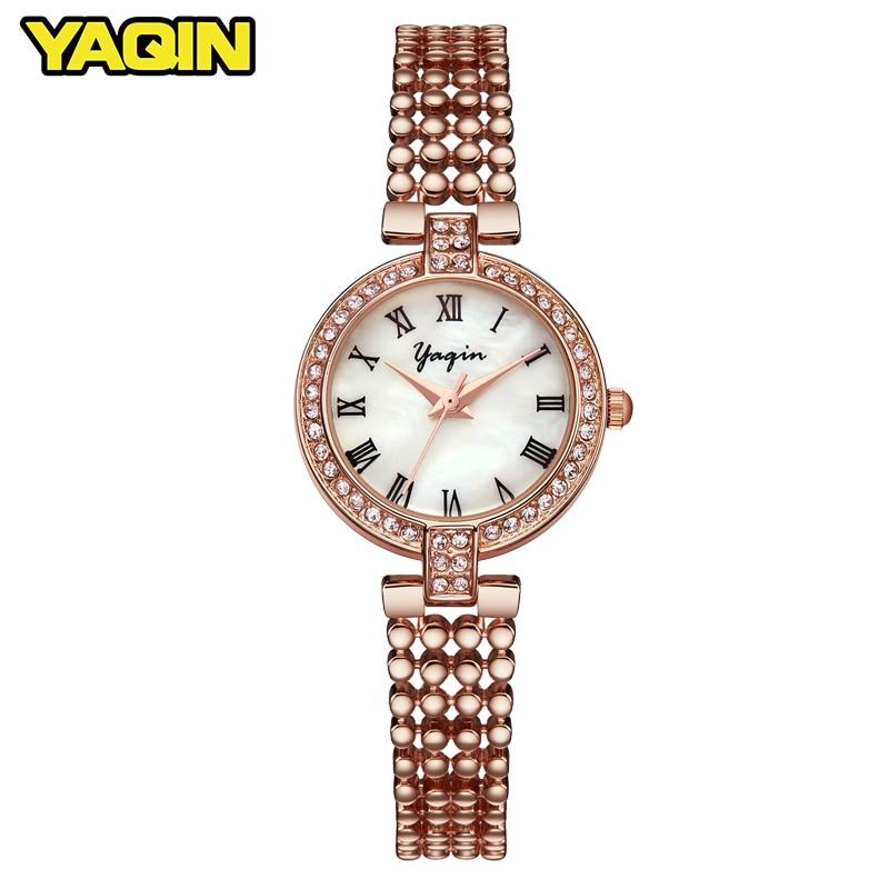 YAQIN Brand Fashion Bracelet Watch Ladies Gold Luxury Alloy Watch Women Fashion Business Watch Quartz Clock Relogio Feminino
