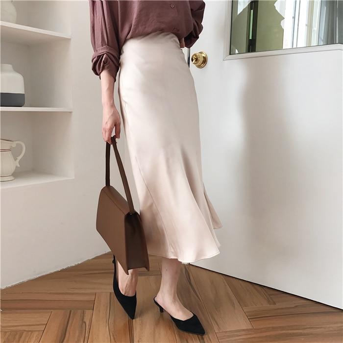 summer elegant high waist women long skirt solid A-line faldas mujer female solid slim jupe femme saia longa 14