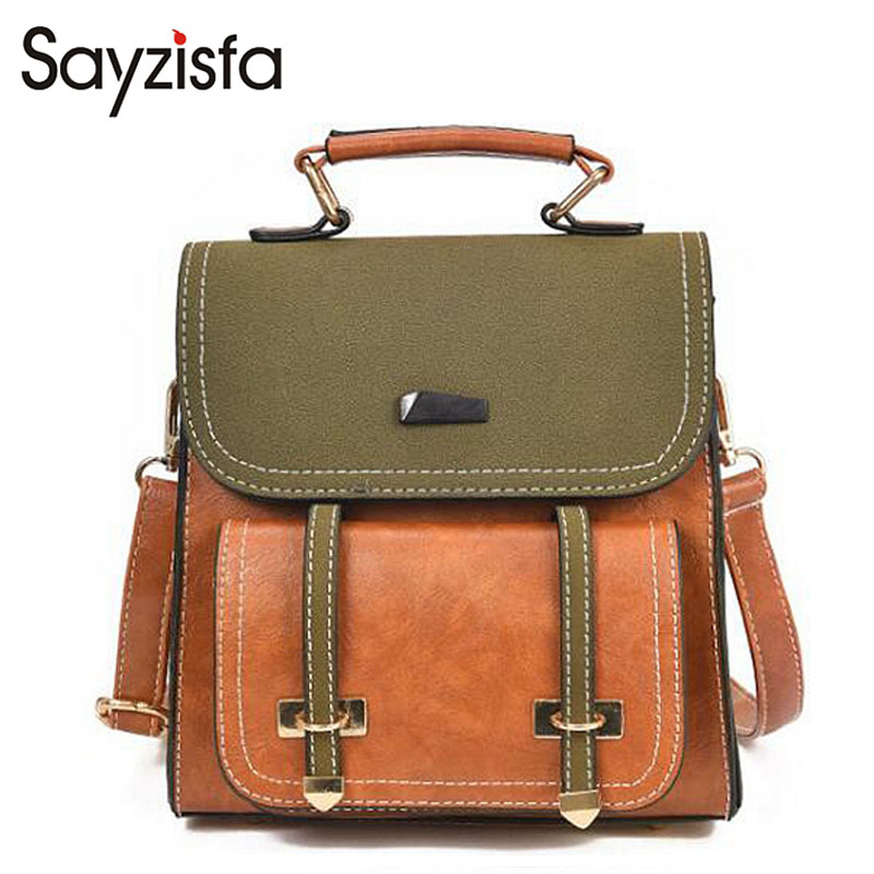Sayzisfa 2018 Fashion Women Handbags Hit color multi-purpose bags Ladies College wind bag retro handbag Two shoulders bag T588
