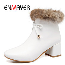 ENMAYER New style women faux fur zip ankle boots lady square toe heel high Big size 34-43 ZYL302