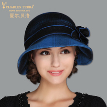 Charles Perra Brand Women Hats NEW 2017 Autumn Winter Fashion Hat Elegant Lady Wool Cap Plaid Warm Casual Caps Fedoras 3233