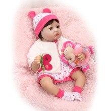 22 inch 55 см возрождается кукла силикона винил мягкая настоящее сенсорный с наклеенными парик реалистичные новорожденного ребенка Рождественский Подарок ребенок жив