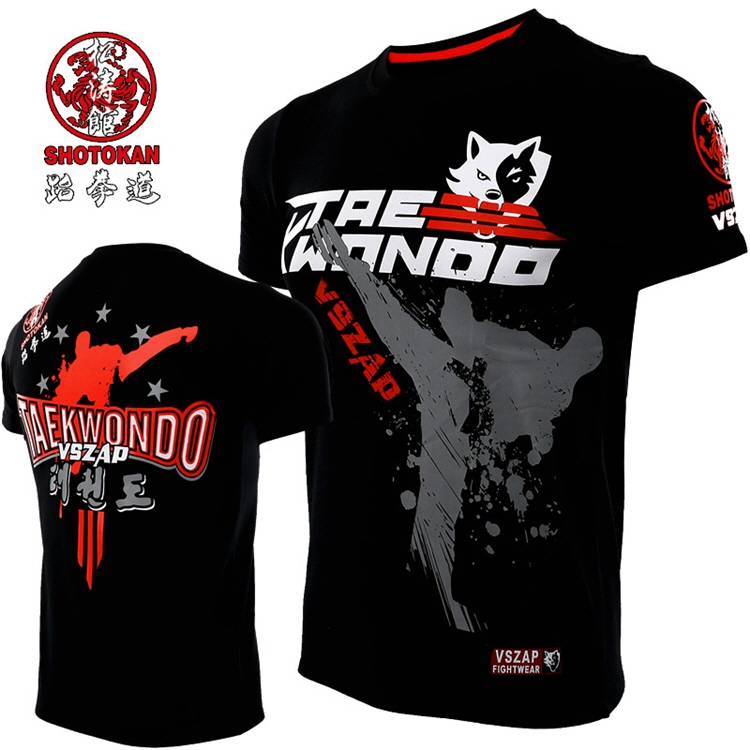 VSZAP Taekwondo Short-sleeved T-shirt TKD Sports Fighting Fitness Training Fighting Performance Clothing MMA  Competition