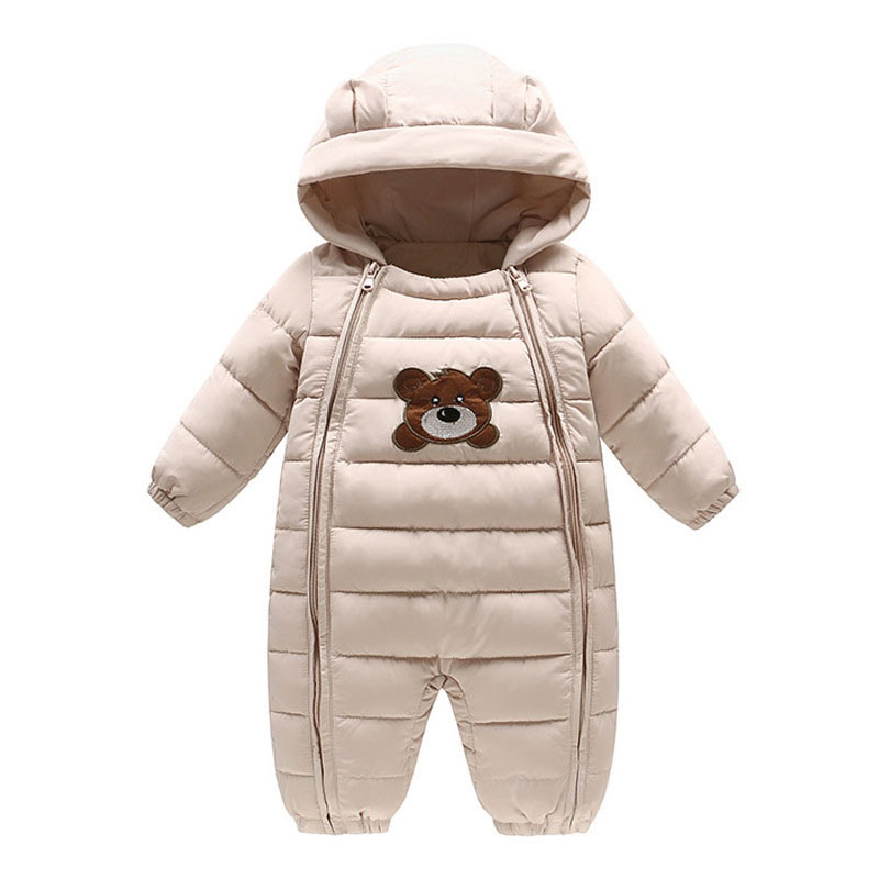 Newborns Baby Boy Cartoon Bear Cotton Rompers Warm Winter Outerwear Toddler Jumpsuit Infant Zipper Clothing Clothes High Quality newborn rompers baby boy romper winter long sleeve cotton clothing toddler baby clothes jumpsuit warm cartoon baby boys pajamas