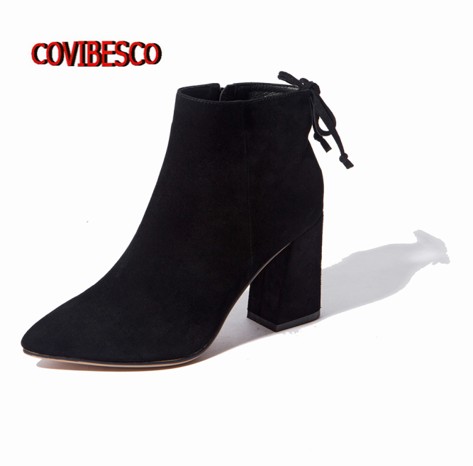Womens Genuine Leather Shoes High Heels Ankle Boots Pointed Toe Autumn Winter High Quality Fashion Sexy Martin  Shoes Woman egonery quality pointed toe ankle thick high heels womens boots spring autumn suede nubuck zipper ladies shoes plus size
