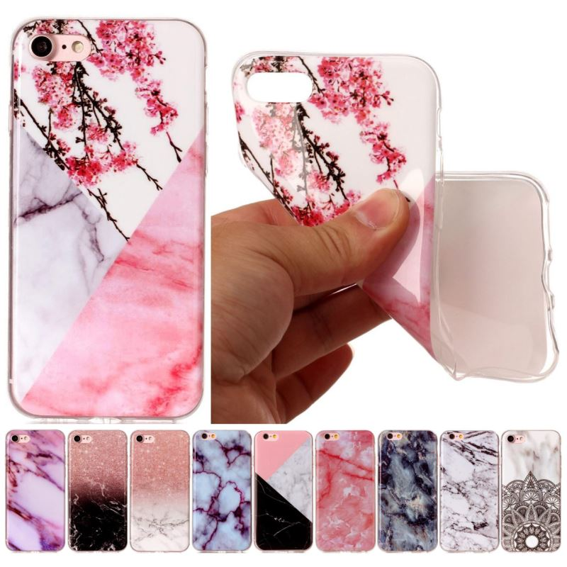 Luxury Marble Case For Fundas Apple iphone 7 8 6 6S Plus 5 5S SE 4 4S Soft Capa For ipod 6 Flower Silicone Back Cover Bag P01Z