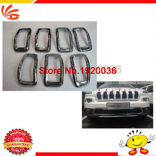 high quality! Car Front Gille Trim Auto Grille Decoration Cover Trims for Grand CHEROKEE Front Grille Vent Hole Frame Cover Trim auto side air vent fender decoration sticker cover hole intake grille duct flow