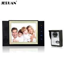JERUAN 8 pulgadas video de la puerta del timbre del teléfono del sistema de intercomunicación 1 monitor 1 cámara altavoz manos libres de intercomunicación de vídeo portero automático grabación