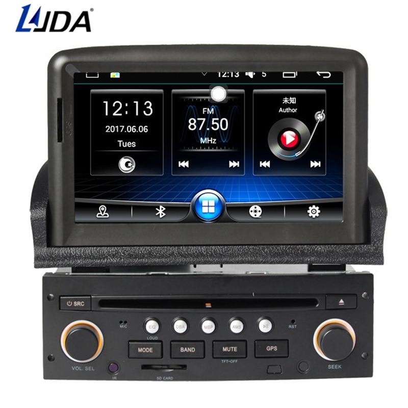 LJDA 1 din 7 pouces Android 6.0 lecteur DVD de voiture pour Peugeot 307 2008-2011 Radio Audio Bluetooth Canbus GPS Navigation Quad cœurs