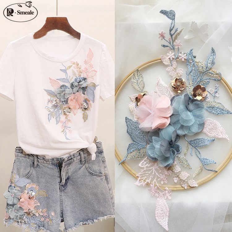 2Pieces 3D Three-dimensional Flower Lace Flower Piece DIY Sweater T-shirt Denim Pants Lace Flower RS792