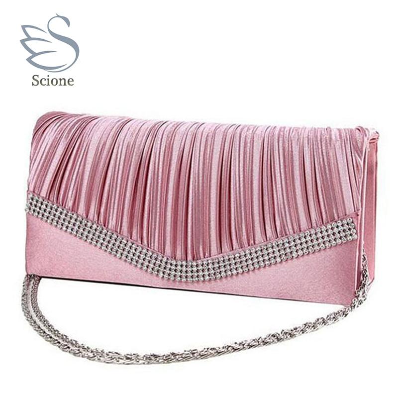 2018 Women Satin Rhinestone Evening Clutch Bags Ladies Day Fashion Purses Chain Handbags Bridal Wedding Party Bolsas Mujer 2t mccarthy t satin island