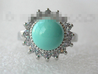 00506 round blue south sea shell pearl ring white gold