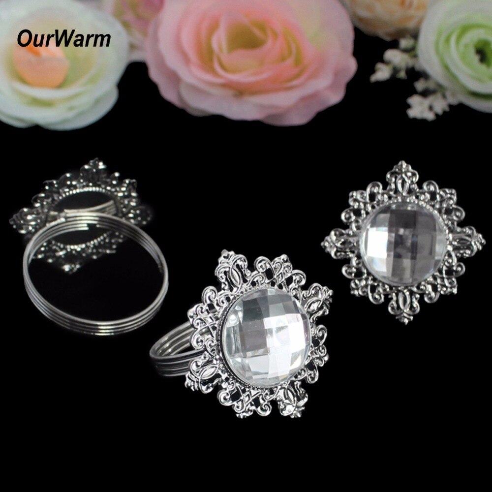 Ourwarm 100pcs Diamond Napkin Ring For