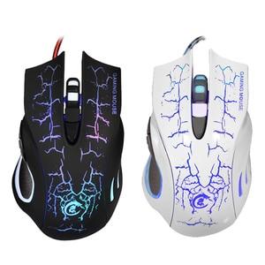 Image 2 - HXSJ souris optique filaire rétro éclairage LED coloré 1200 5600 DPI 6 boutons USB2.0 souris de jeu souris de jeu souris pour LOL pour PC portable 4 Typ