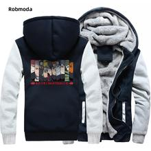 цена на Japan Anime Naruto Sasuke Kakashi print men'shooded sweatshirt Plus velvet Thicken Raglan hoodies man clothing coat Harajuku Top