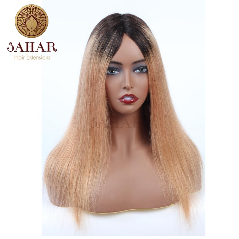 SAHAR Honey Blonde Color Extensions Brazilian Straight Remy Hair L-shape Lace Front Wig 100% Human Hair Piece Wig