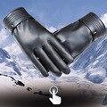 Мужская осень и зима теплая кожаные перчатки сенсорный экран Корейский автомобиль мыть кожаные мужчин