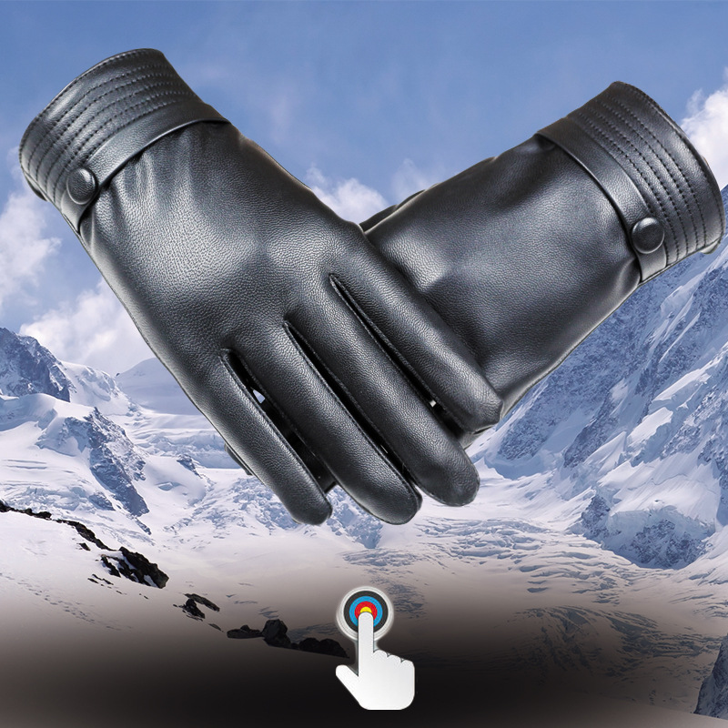 ФОТО Men's autumn and winter warm leather gloves touchscreen Korean car washed leather men