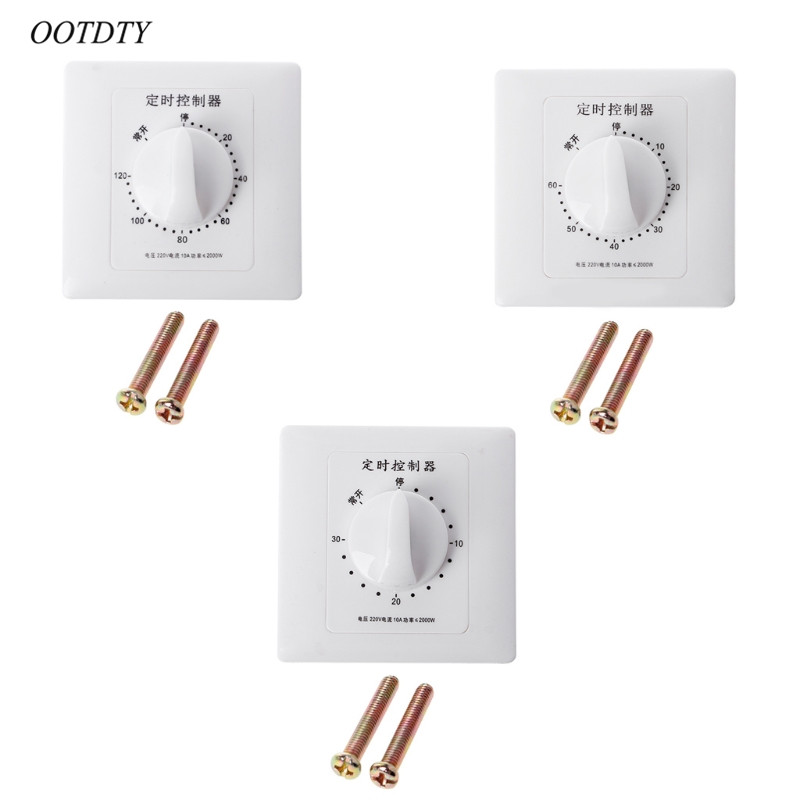 OOTDTY AC 220V Timer Switch Control Pump Mechanical Countdown Control Interruptor 30/60/120 Minutes
