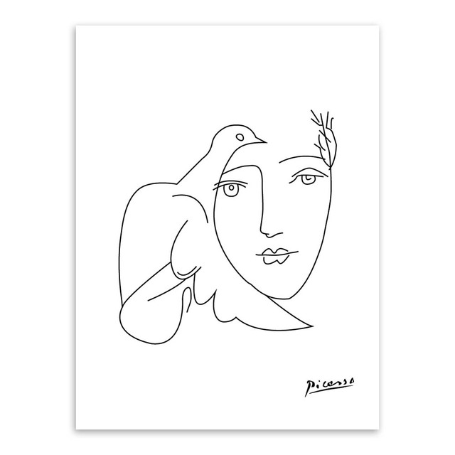 Moderne Picasso Abstrait Minimaliste Dessin Au Trait Toile Art