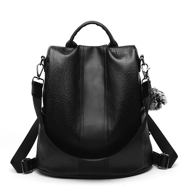 Pu Leather Women Backpack Fashion School Bags For Teenager Girls Large Casual Anti-theft Black Brown Travel Backpacks #2