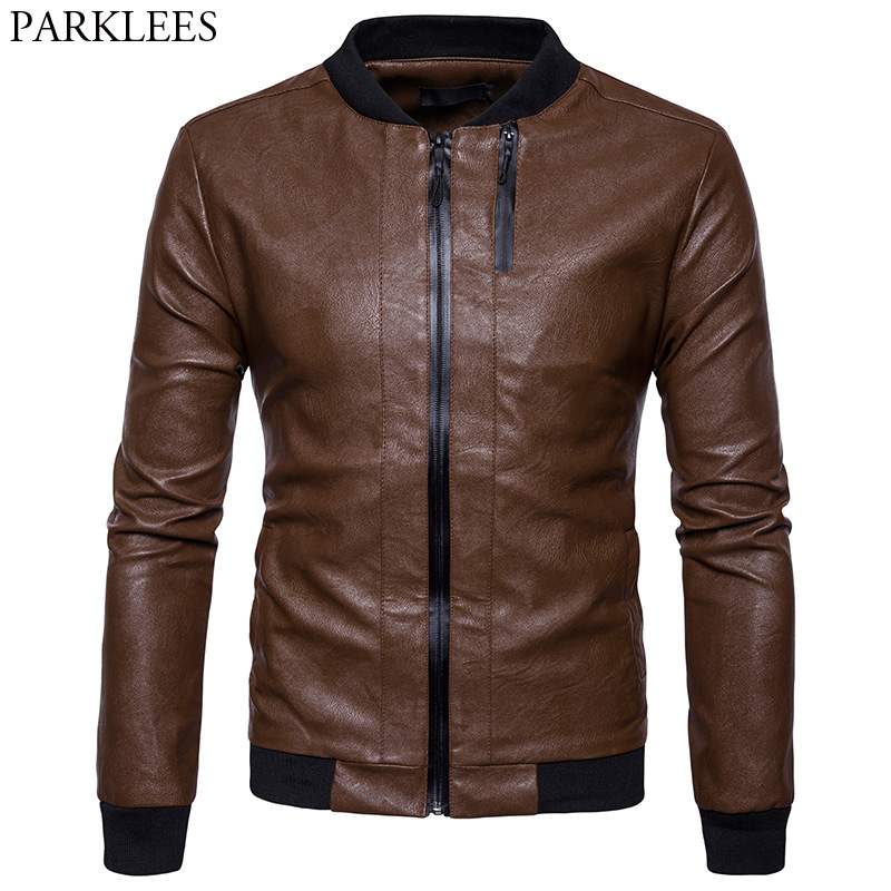 Mens PU Leather Jacket 2017 Casual Slim Fit Mens Winter Leather Jackets Zipper Pocket Baseball Leather Jacket Veste Homme Cuir