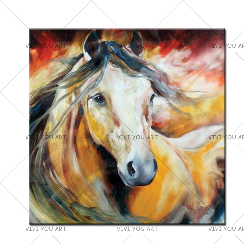 Large Modern Abstract Hand-Painted Horse Oil Painting Home Decor Canvas Art Wall