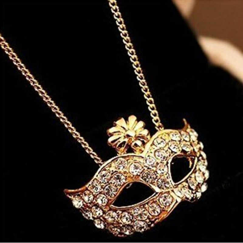 2018 New fashion lady retro style charm fox mask pendant necklace exquisite crystal necklace female wholesale Collier Collares