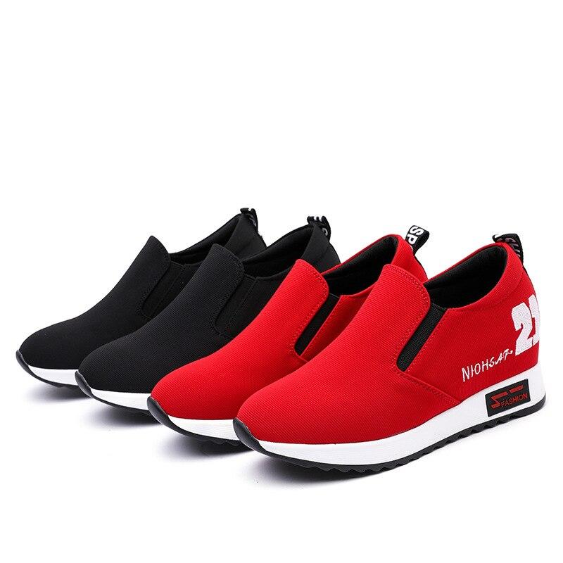 2019 Léger Talons Chaussures Décontracté À rouge Et Chaussures Femmes Hauts Paresseux Respirant Confortable Nouvelles Noir De rCSnqr